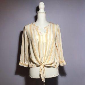 Blue Rain Striped Tie Front Blouse Francesca's